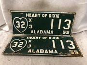 Vintage 1955 Alabama License Plate Pair Truck - Fayette County