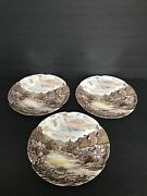 Johnson Brothers China Dinnerwear Olde English Countryside Brown 3 Dinner Plates