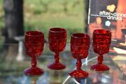 Vintage Pressed Glass Red Wine Glasses, Set Of 4, Viking Glass Co, Georgian Ruby