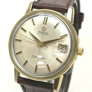 Omega Antique Seamaster Cal.562 Menand039s Wristwatch Ss X Leather Belt Gold/brown