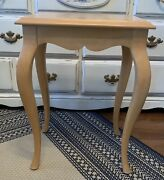Ethan Allen Country French Bisque Pedestal End Side Table Light Wood