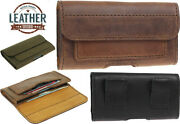 Premium Hand Sewn Of Genuine Leather Waist Pouch Case Cover For Mobile Phones