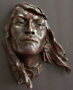 Daro Flood Native American Bronze 7 Of 20 Indian Face Head Signed Carroll Vtg
