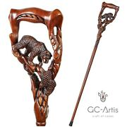 Wooden Cane Walking Stick Hand Carved Crafted Grizzly Bear Salmon For Men