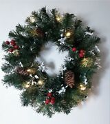 Winter Pine Snow Frosted Lighted Wreath Christmas Berries Pinecones W/timer 14andrdquo