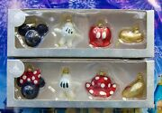Disney Mickey And Minnie Body Parts Glass Boxed Christmas Ornaments New In Box
