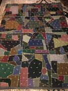 Outstanding Vintage Sampler Crazy Quilt Unusual Design And 19th C. Fabrics 83x64