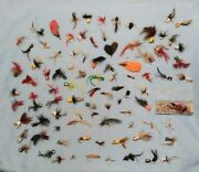 Vintage Lot Of 103 Mixed Fish Species Fly Fishing Flies - Many Sizes And Insects