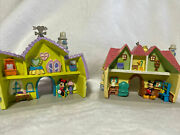 Disney Set Of 2 Mickey And Minnie's Toon Town Houses Christmas Ornaments Nwt