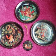 Tianex Russian Lot Of 3 Porcelain Collector Plates 1988 / 1990 + Ornament