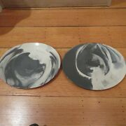 Nambe Butterfly Ll Marble Dinner Plates Grey Curved Oval Lot Of 211 5/8 X 9.5