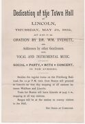 1892 Broadside For The Dedication Of The Town Hall Lincoln Massachusetts Party