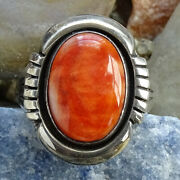 Lonnie Willie Navajo Orange Spiny Oyster Sterling Ring Size 6.5 Native American