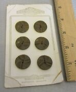 30s Art Deco Chocolate Brown Carved Bakelite Button Card Nybco High Quality 6p