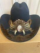 """Vintage Charlie 1 Horse W/feathers Felt Western Hat New Leather 20"""" 7"""" Gor"""