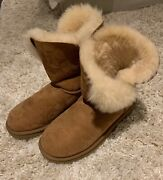 Classic Short Tan Uggs Womanand039s Size 6 Suede Outer Sheepskin Lining Fold Down
