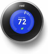 New Nest 2nd Generation Learning Stainless Steel Programmable Thermostat No Base