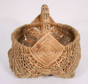 Small Vtg Rope Woven Wicker 9 X 12 Mini Buttock Style Harvest Flowers Basket