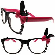 Bunny Ears Fun Party Colorful Cute Heart Accent Black And Pink Clear Lens Glasses