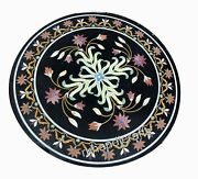 Vintage Art From India Marble Coffee Table Top Round Center Table Size 27 Inches