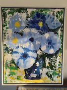Original Mid Century Painting Abstract Blue Green White Yellow 24 By 30 Signed