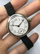 Rolex Wwi Officers Trench Watch Sterling Silver Large Dial Serviced