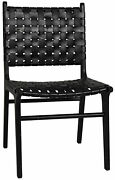 20.5 W Set Of 2 Dining Chair Black Teak Wood With Woven Leather Seat Modern