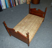 Antique Circa 1920's Four Poster Mahogany Doll Bed