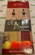 Set Of Two 16 Oz Glass Oil And Vinegar Cruet Bottles Dispenser And Spout And Stopper