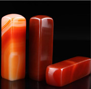 Red Jade Agate Stamp Seal Cuboid Mineral Specimen Collection