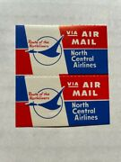 Vintage North Central Airlines Air Mail Stickers Luggage / Baggage Label