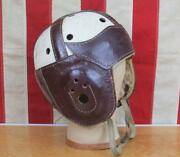 Vintage 1940s Trusport Leather Football Helmet 50 Wing Front White/burgundy Red