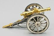Artillery Cannon. Punched Silver 925. Marks On The Front. Twentieth Century.