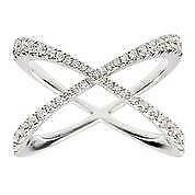 Large Modern Pave Diamond 18kt White Gold Crossover Band Cocktail Ring R053682