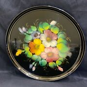 Vintage Ussr Russian Black Floral Hand-painted Metal Tin Serving Tray 12andrdquo