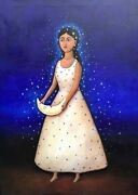 Beautiful Young Our Lady Of Guadalupe Painting Mexican Artist Esau Andrade 30x40