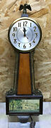 Sessions Banjo Electric Wall Clock Vintage Eagle Finial Wood Wooden Mt Vernon 2w