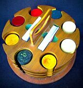 Vintage 1930's Bakelite Poker Chips And Crafted Wooden Carrying Case - Usa