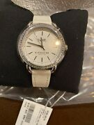 New With Tags Genuine Womenandrsquos Coach Watch -crystal Bezel - White Leather Band