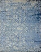 8and039x10and039 Rug   Hand Made Hand Knotted Wool And Viscose Blue White Gray Area Rug