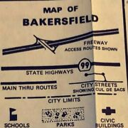 Vintage 1978 Map Of Bakersfield And Kern County