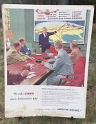 Vintage Mid Century American Airlines Advertising Poster Sign