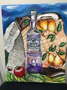 Contemporary Oil Painting Still Life With Russian Standard Bottle Signed