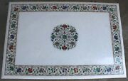 Shiny Gemstones Work Dinette Table Top White Marble Center Table 30 X 48 Inches
