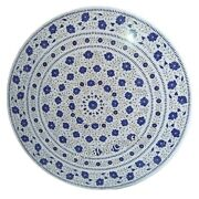 Marble Dining Table Top Lapis Lazuli Stone Inlay Work Center Table Floral Art