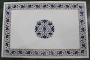 30 X 48 Inches White Marble Kitchen Table Top Inlay Art At Border Meeting Table
