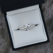 0.65 Ct Round Cut Real Diamond Women Engagement Ring 14k Solid White Gold Ring 7