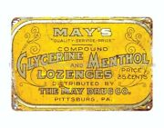 May's Glycerine Menthol Lozenges Cough Drop Advertising Metal Tin Sign