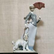 Lladro Lady Of The Shawl Dog Spain Genuine Pottery Blue White Red Umbrella