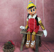 Vintage Wooden Large Hand Crafted And Painted Pinnochio Puppet Marionette